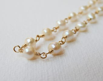 Pearl Necklace - Gold Filled Cultured Freshwater Pearl Rosary Necklace Beaded Necklace Beadwork Necklace White Pearl Strand Rosary Chain