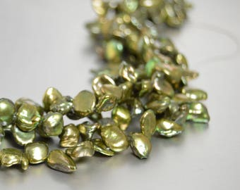 Keshi Pearls, Olive Green Pearls, Keshi Nugget Pearls, 6mm x 8mm Loose Pearls, Green Freshwater Pearls, Gold Pearls