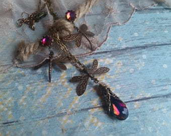 Dragonfy Necklace, Crystal necklace, vintage style necklace, Swarovski drop necklace, Dragonfly Drop Earring, Vintage necklace, Spring gifts