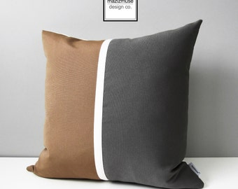 Camel Brown & Grey Pillow Cover, Modern Color Block Pillow Cover, Decorative Pillow Case, Masculine Gray Sunbrella Cushion Cover, Mazizmuse