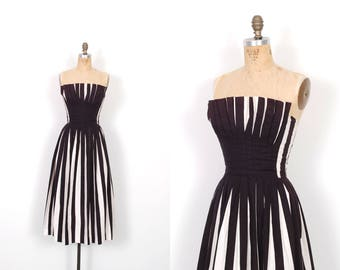 Vintage 1980s Dress / 80s Victor Costa Striped Cotton Strapless Dress / Black and White ( XS extra small )