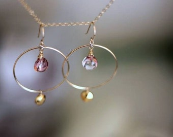 Pink Mystic Topaz and Pyrite Hoop Earrings- 14K Goldfilled