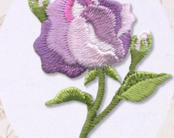 Purple Rose Patch - Flower Embroidered Iron On Patch, Japanese Kawaii Floral Iron on Applique, Botanical, Cute Embroidery Applique, w300