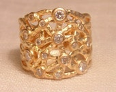 Vintage Gold Over Sterling CZ Band Wide Band CZ Ring Sterling Ring Gold Ring Womens Ring Gold Band CZ Band