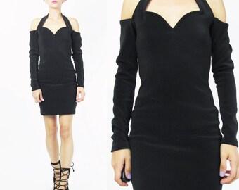80s 90s Cut Out Shoulder Dress Black Long Sleeve Dress Sexy Black Mini Dress Body Con Bandage LBD Halter Neck Party Dress (XS/S) E304