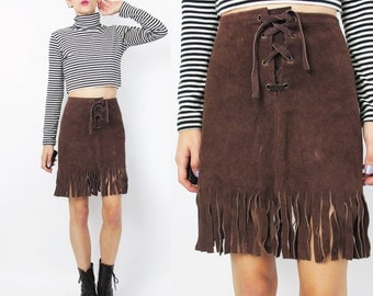 60s 70s Lace Up Suede Skirt Brown Suede Leather Mini Skirt Fringe Hemline Skirt Native American Boho Skirt Vintage Leather Mini Skirt (XS)