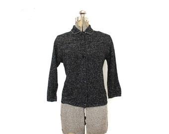1950s Helen Bond Cardigan / 50s 60s Black Metallic Lurex Knit Cardigan