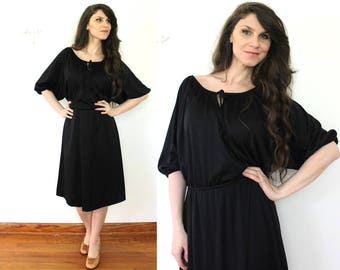 Black 70s Dress / 1970s Black Disco Dress
