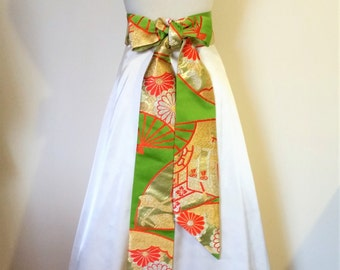 Vintage KIMONO Wedding sash OBI bow belt brocade green gold red silver ready to ship