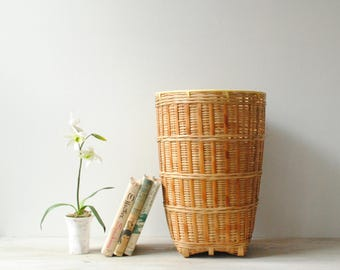 Large Bamboo Basket, Vintage Basket, Plant Basket