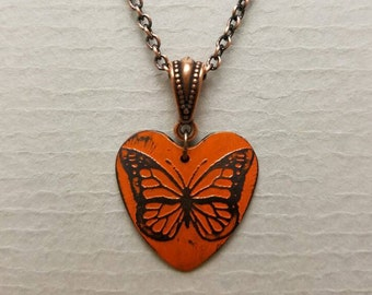Etched Copper Heart Magical Monarchs Necklace