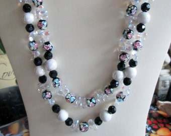 Diva About Town Flower Necklace and Earring Set - Stunning - Night on the Town - Black Dress - Wedding - Cruise - Vacation - Gift Item