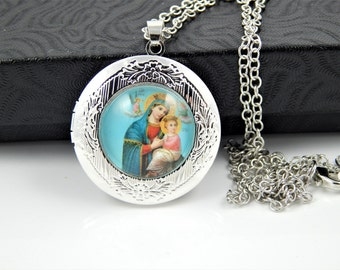 Our Lady of Perpetual Help Catholic Locket Necklace - Perpetual Succour Cabochon Jewelry - Religious Jewelry - Catholic Medal Necklace - SL