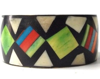 vintage 60s b&w geometric modernist bangle brass bone bracelet inlay triangle square multi-colored metal heavy weight wide oversize large