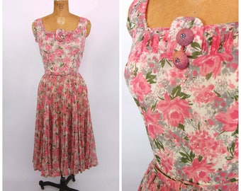 1950s Pink and grey Floral Print Dress and Jacket - Accordion Pleats - Sleeveless Sun Dress