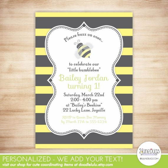 Bumblebee birthday invitation bee birthday party invite bumble bee il570xn filmwisefo Images