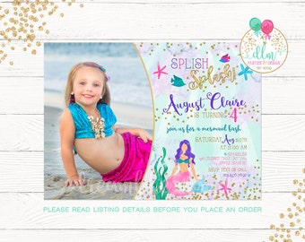 Mermaid Invitation, Mermaid Birthday Invitation, Photo Invitation, Under The Sea Party, Printable Invite, Birthday Invite, Splish Splash