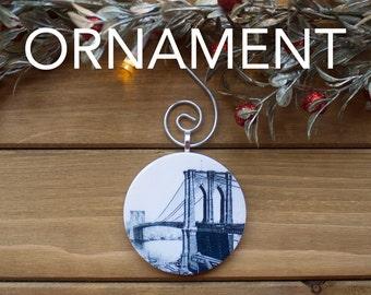 Brooklyn Bridge Ornament, Christmas Tree Decoration, Tree Ornament, Vintage Ornament, Christmas Gift, Stocking Stuffer, Free Shipping
