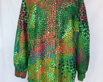 Late 1960s, Early 1970s Psychedelic Print Blouse, Plus Size, 3X, Metallic Threads, Tailored by Patrician