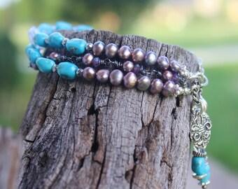 RARE Sleeping Beauty Turquoise & Scorolite Lavender Opal 3-Strand Bracelet, Art To Wear, Dainty Handcrafted Artisan Sterling Silver Bracelet