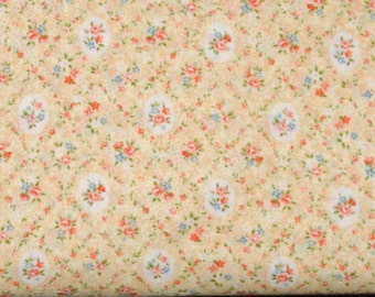 Orange, Blue and Green Floral on Light Yellow 100% Cotton Quilt Calico Fabric Blender, Cosmo Textile's Garden Path Collection, COSAP52311-3C