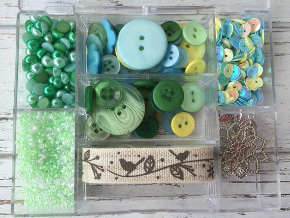 """Embellishment Kit, Mixed Buttons, Beads, Ribbon, Charms, Sequins, Case & More, """"New Leaf"""" #LL107 by Buttons Galore, Sewing, Crafts"""