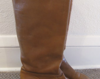 Vintage 1980s Soft  Leather Harvard Square Knee-High Boots, Italy, Size 8, Toffee Brown