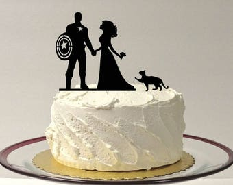 MADE In USA, Superhero Wedding Cake Topper with Cat, Silhouette Wedding Cake Topper, Bride and Groom Wedding Cake Topper Superhero Pet Cat