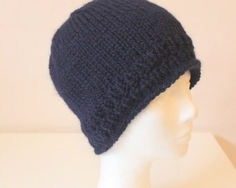 Hand knit blue alpaca wool hat