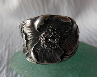 Reserved for Magda    Antique Spoon Ring  Sterling Silver  Size 8.5