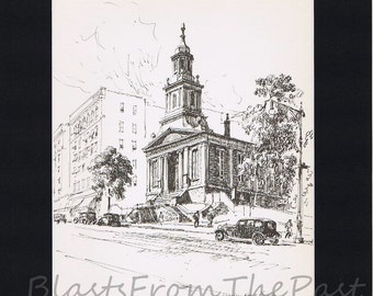 NEW YORK Pencil Sketch Vintage Print with 11 x 14 mat, Fordham Dutch Reformed Church, Edgar Allan Poe, Architecture, NY City, Buildings
