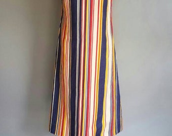 Vintage 60s LINEN Stripe Long RESORT Dress (s)