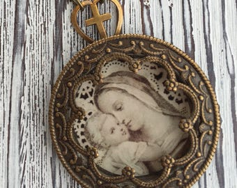Madonna and Child Vintage French Holy Card Religious Necklace