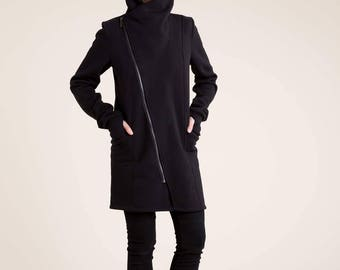 High Collar Jacket / Sweatshirt Asymmetrical Jacket / Zipper Jacket / Black Coat /Trench Coat / Fleece Jacket / Marcellamoda - MC786