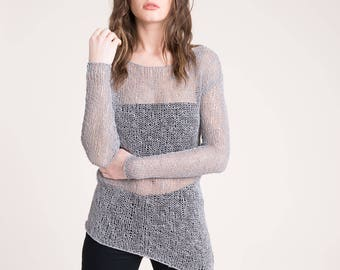 NEW Cotton Sweater / Summer Sweater / Summer Jumper / Grey Sweater / Knitted Sweater / Asymmetric Sweater / Marcellamoda - MB821
