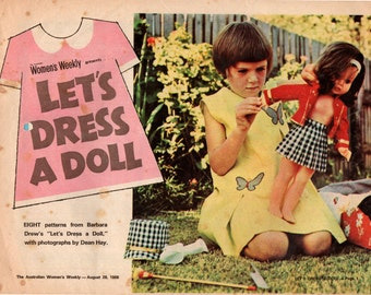 60s Womens Weekly LETS DRESS A DOLL Vintage Dolls Clothes Patterns Booklet Cheerleader Bikini Kilt Dresses etc