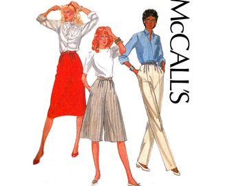 80s McCall's 7856 Palmer & Pletsch Skirt Pants Culottes Vintage Sewing Pattern Size 14 Waist 28 inches UNCUT Factory Folds