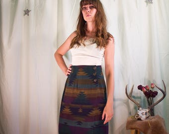 Soft Tribal Print Wrap Skirt