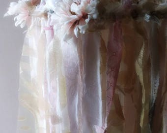 Lace w Silk Floral Chandelier. Ribbon Lace mobile.Boho Garland Chandelier. Shabby Chic Blush Pink Gold Sage  Wedding. Nursery. Party Decor