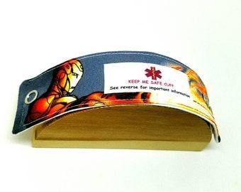 Medical Alert Bracelet Child ID Band Autism Awareness Kid's Allergy Alert Bracelet Iron Man Fabric Bracelet