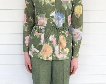 70s Mod Pants Set Green Floral 3 pc Outfit Vintage 1970s S M