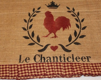 FRENCH COUNTRY BURLAP Ruffled Red Check RoosterValance