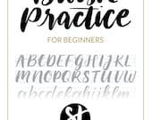 Brush Lettering Practice Sheet - Downloadable Calligraphy Practice Sheet - Hand Lettering Grid Font