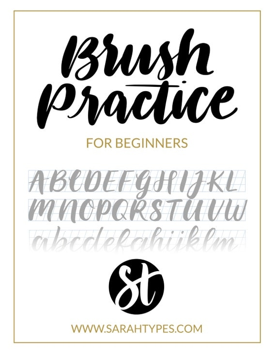 Brush lettering practice sheet downloadable calligraphy