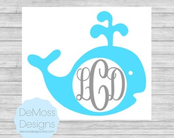 Whale Monogram Vinyl Decal, Solid Colors, Whale Sticker, Removable, Nautical Decal, Car Decal, Beach Vinyl, Personalized