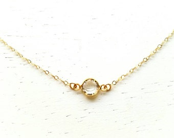 Tiny Pebble Necklace - clear swarovski crystal round diamond gem gold filled chain dainty wedding - simple everyday jewelry - adenandclaire