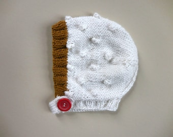 MINI BOBBLE Cap Ivory Goldenrod Vintage Nuetral Baby Knits Merino Wool Luxurious Deep Mustard Yellow Red Pilot Bonnet Hand Knit Hat 3-6 6-12