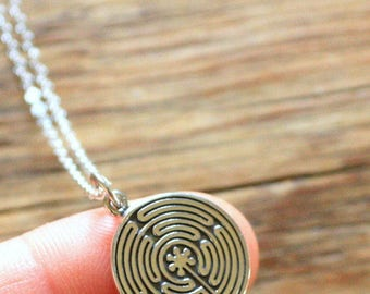 Labyrinth Charm Necklace - Sterling Silver Labyrinth Necklace - Labyrinth Necklace