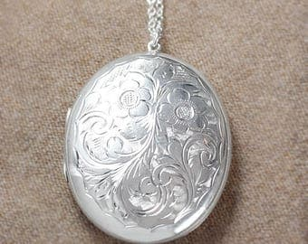 Extra Large Sterling Silver Locket Necklace, Forget Me Not Flower and Swirl Design 1965 Vintage Photo Pendant - Enchanting