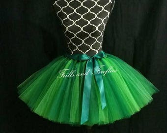 Green Tutu Skirt with Green Satin Bow..MANY COLORS to Choose Fromm...... Sizes from From Newborn up to Adult